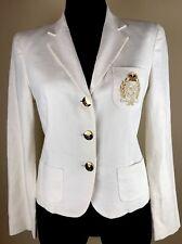 Ralph Lauren Women Linen Jacket Blazer 6 Gold Crown Crest Embroidered Off White