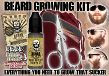 Beard Growing Set - Beard Growth Oil, Pocket Beard Comb, Mini Scissors and Bag