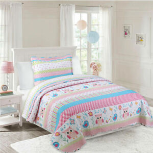 2/3pcs Kids Quilt Bedspread Comforter Set Throw Blanket for Quilt, A73 Bird