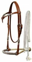WESTERN SADDLE HORSE RAWHIDE CORE BOSAL BITLESS BRIDLE W/ COTTON MECATE REINS
