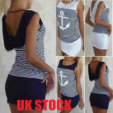 UK Womens Slim Bodycon Summer Bandage Mini Dress Ladies Hoodie Tops Size 6-16