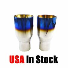 """2PCs Blue Burnt Exhaust Duo Layer Tips Polished Stainless Steel 2.5""""In 3.5""""Out"""
