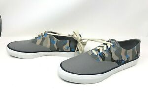 Mens Sperry Top-Sider (STS10184) Gray/Blue Camo Canvas Sneakers 436d
