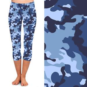 Blue Camouflage Women's CAPRI Leggings TC2 Extra Plus Size 18-22
