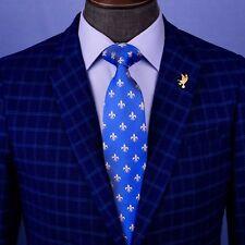 Light Blue Italian Fleur-De-Lis Designer Tie 8cm Necktie Florentine Accessory