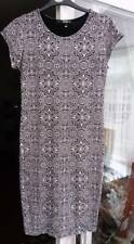 Quiz Bodycon Wiggle Dress Size 12 Black White + Necklace Knee Length