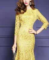 New Womens Yellow Lace Fishtail Hem 3/4 Sleeve Cocktail Party Sheath Dress Size
