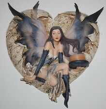 Gothic Sexy Fairy Wall Hanging Sculpture Candle Holder Black Purple Heart Resin