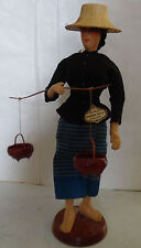 Vintage Handmade Bangkok Dolls Thailand National Costume Doll Basket Collectible