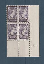 timbre France bloc de 4 coin daté aviateur Jean Mermoz 3f  num: 338 **