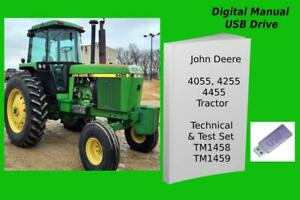 John Deere 4055 4255 4455 Tractor Operation & Technical Manual Set TM1458 TM1459