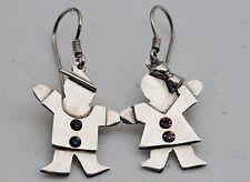 "Sterling Silver 1 5/8"" Boy and Girl Dangle Earrings"