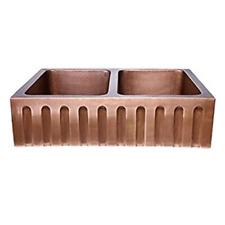 Stripe Design Copper Undermount Kitchen Sink - Double Bowl 16-Gauge Front Apron