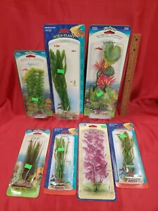 Lot of 7 - Aquarium Fish Tank Plastic Plants Decor Decorations -Still in package