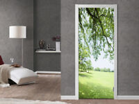 3D Spring Trees Green Lawn Living Room Door Stickers Removable Wallpaper Decor