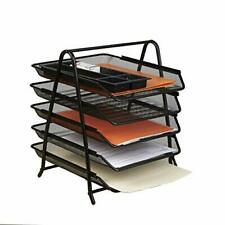 Desk Organizer With 5 Sliding Trays For Letters Documents Mail Files Paper Bl