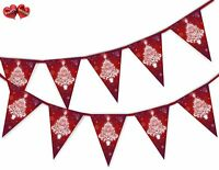 Snowflakes and Red Christmas Tree Bunting Banner 15 flags by PARTY DECOR