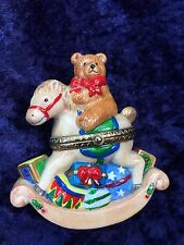 Rocking Horse with Christmas Packages & Teddy Bear  Porcelain Hinged Box