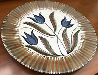 "Vintage 13"" Decorative Floral Hand Made Plate Norway Mid Century Modern Ceramic"