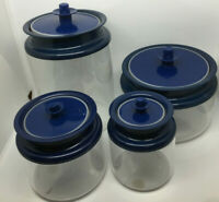 Vintage Retro Tupperware Clear Acrylic Blue Push Button Lid Canister Set Of 4