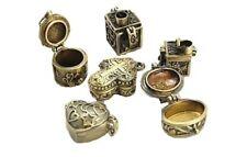 Wholesale Lot 12 Prayer Poison Pill Box Pendants Charms Mixed Antiqued Gold Tone