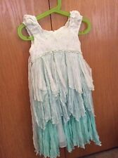 Biscotti Collezioni Girls Occasion Crinkled Green Dress w/ Beads, size 5, EEUC.
