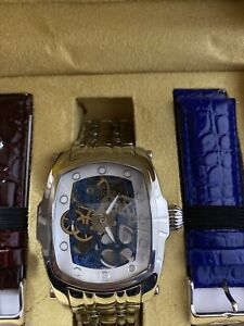 Invicta Mens Lupah Collection Mechanical Skeleton Dial  Watch w/ 2 Leather Strap