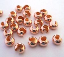 50pcs 4mm 14k ROSE Gold Filled Crimp Bead Cover 1/20 GF gap filler cap  RF04