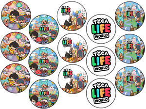 TOCA LIFE WORLD INSPIRED 15 x 2'' ROUND EDIBLE WAFER / ICING CUPCAKE TOPPERS