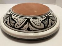 Beautiful Unique Hand Thrown Black & White Glazed Red Clay Pottery Bowl