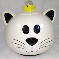 Mud Pie Cat Treat Jar Canister or cookie jar - cat and mouse with cheese