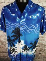 Pineapple Connection Mens Hawaiian Shirt Evening Palm Tree Tribal Black Blue M