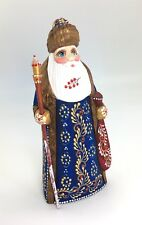 Russian SANTA Wood Hand Carved Hand Painted Signed