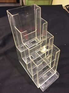 """Four Pocket Clear Brochure Holder with Business Card Slot in Front (4"""" X 1 1/4"""")"""
