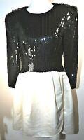 Morton Myles Sequin Dress Vintage Black Sequin Top & White Satin Skirt Size 8-10