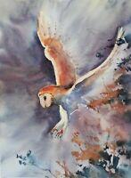 Barn Owl in flight bird animals Art Original Watercolour Painting 42
