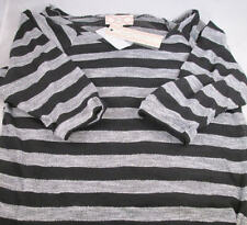 Pink Rose Striped Polyester Blend 3/4 Sleeve Knit Top Shirt Blouse M Ships FREE!
