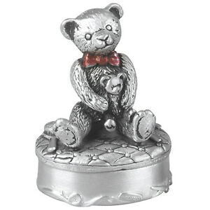 Christening Gift Pewter Teddy-Bear First Tooth Box