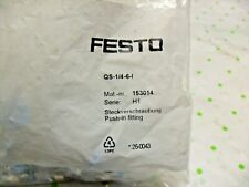 QTY 2 - Festo Qs-1/4-6-1 - 153014 Push-In Fitting, Straight, 1/4 Inch 2-Fittings