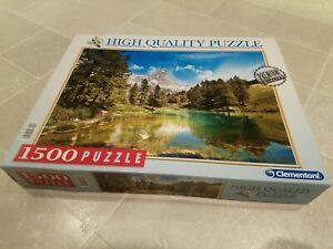 """Clementoni Art """"Blue Lake"""" 1500 Piece Jigsaw Puzzle Complete"""