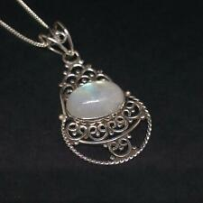 925 Silver Indian Ethnic Moonstone Pendant Necklace Jewellery Gift