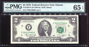 1976 $2 Federal Reserve Note Atlanta #F30612080A PMG 65EPQ
