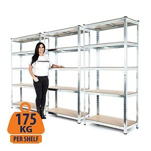 3-Bay Steel Garage Shelving Racking - Galvanised and Boltless - 175KG UDL