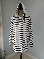 Trafaluc Zara Blue And White Striped Jacket Hooded Full Zip Size Medium