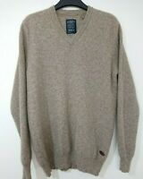 "Hammond & Co Mens Taupe Brown Lambswool Jumper Sweater Size Medium 40"" Chest"
