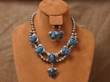 Vintage Navajo Sterling Silver Turquoise Necklace and Earrings Set