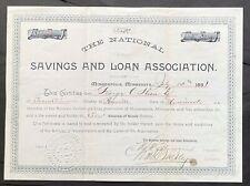 NATIONAL SAVINGS & LOAN ASSOCIATION of MINNEAPOLIS, MINNESOTA Stock 1891. MN