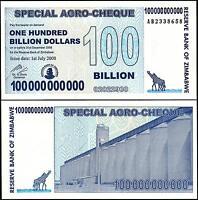 ZIMBABWE 100,000,000,000 (BILLION) DOLLARS 2008 UNC P 64 AGRO CHEQUE