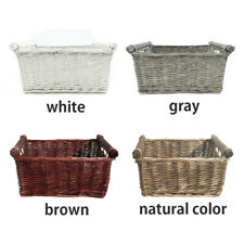 Natural Wicker Storage Basket Durable Square Coverless Storage Box Vegetables