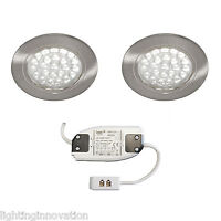2 x RECESSED LED ROUND KITCHEN UNDER CABINET CUPBOARD DISPLAY LIGHT COOL WHITE